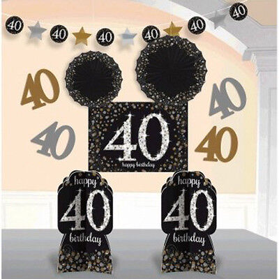 OVER THE HILL Sparkling 40th BIRTHDAY ROOM DECORATING KIT Party Supplies
