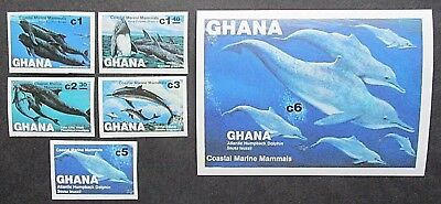Ghana 1983 Coastal Marine Mammals Set & Mini Sheet. IMPERF. MNH.