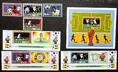 Ghana 1984 World Cup Football Set & Mini Sheet Surcharged. MNH.