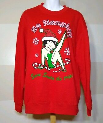 Betty Boop Red Christmas Sweatshirt Be Naughty save Santa the trip Size large