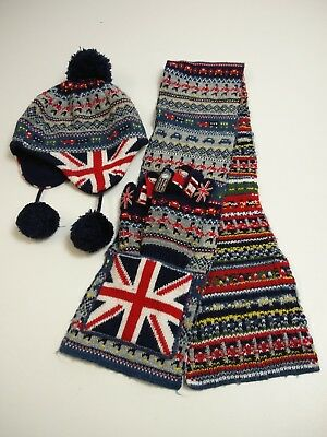 Boys Monsoon England London Soldiers Big Ben Winter Scarf Hat Gloves Set 6-10 Yr