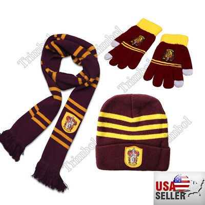 New! 3pcs Harry Potter Gryffindor Scarf+Cap/Hat + Gloves Warm Costume Xmas Gift