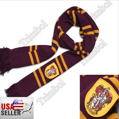 Harry Potter Gryffindor Thicken Wool Knit Scarf Wrap Warm Costume Xmas New Gift