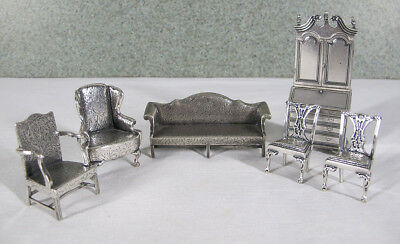 Vintage Sterling Silver Miniature Dollhouse Furniture Set (6) West Germany yqz