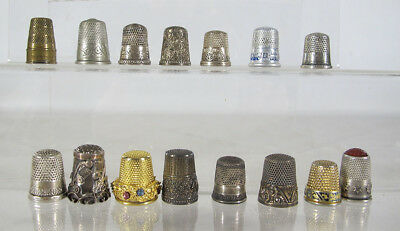 Antique/Vintage Mixed Lot of (15) Sewing Thimbles~Sterling Silver~Gemstone yqz