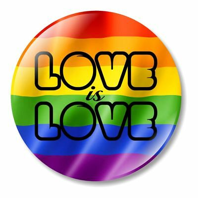 1 x Love Is Love 32mm BUTTON PIN BADGE Marriage Equality Support Gay Lesbian