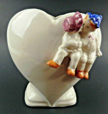 Vintage Heart Shaped Vase Planter with 3D Boy & Girl Kissing Made in Japan