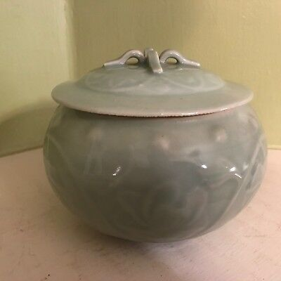 Artist made ceramic green floral round bowl with cover