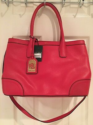 NWT Ralph Lauren Fairfield City Shopper Red Satchel Convertible Purse Bag   328! bd2ab5b534