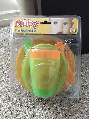 Nuby Fun Feeding Set - 10 Piece Set (Bowls Plates Cups Forks/Spoons BRAND NEW