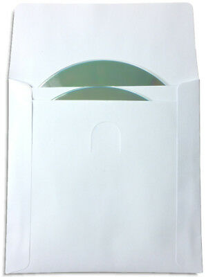200-Pak TWO-POCKET White Paper CD/DVD Sleeves with Window and With Flap, 100gram