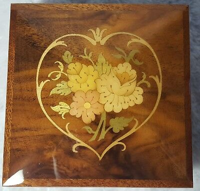 """ITALIAN Vtg Inlaid HEART & Lacquered Wood MUSIC JEWELRY BOX -Reuge """"O SOLE MIO"""""""