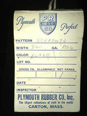 Plymouth Rubber  Company  Sorrento  sample  with tag  Canton Massachusetts
