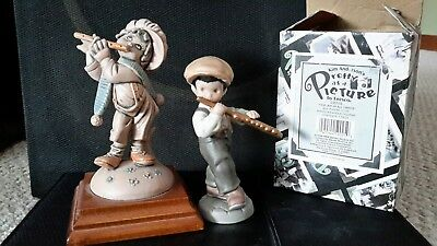 """Pretty as a Picture Find Joy In All Things Figurine Flute Playing 4.5"""" newsboy"""