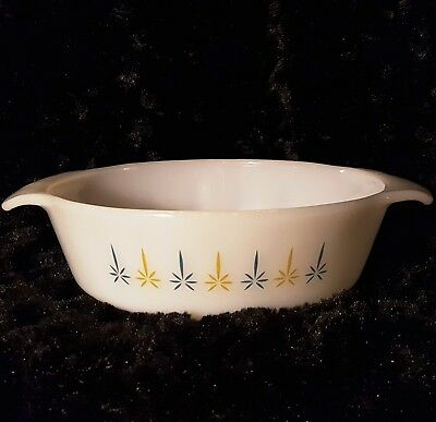 Vtg Fire King Candleglow CASSEROLE DISH 1 QT #436 MILK GLASS Atomic-Era MCM