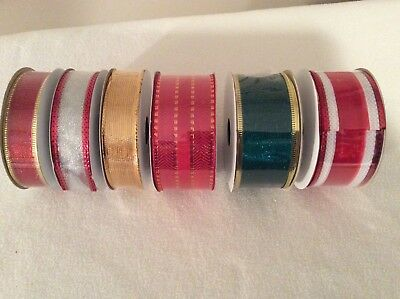 """LOT of 6 ROLLS WIRED EDGE CHRISTMAS RIBBON  7 yards each 1.5"""" &  0.875"""" Wide NEW"""
