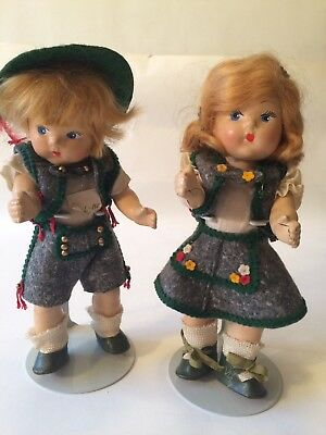 VINTAGE VOGUE  GINNY COMPOSITION TODDLES Dolls Alpine Pair painted eye strung