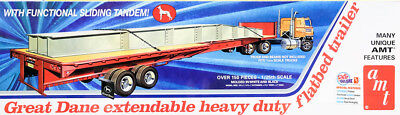Great Dane Extendable Heavy Duty Flatbed Trailer 1:25 AMT Model Kit AMT1111