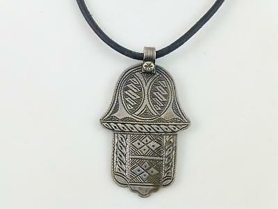 Hamsa Etched Sterling Silver Pendant Black Leather Cord Necklace
