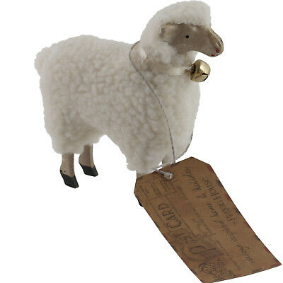 "Wooly Easter German Style White Sheep Lamb Figure with Bell 4"" Size Putz"