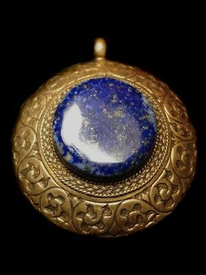 Magnificent Ooak Antique Lapis Lazuli Bronze Pendant Intricate Amulet