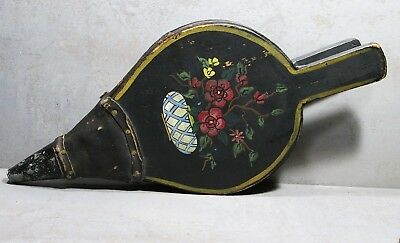 19th C PRIMITIVE FLORAL-MOTIF PAINTED WOOD, LEATHER & METAL FIREPLACE BELLOWS