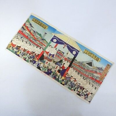 """A882: Japanese old wood-block print """"SUMO wrestlers in the ring"""" of MEIJI"""