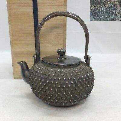A797: Real Japanese teakettle of high-quality pure silver 640 g w/stamp and box