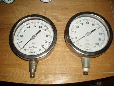 TWO PIECES -  Danton 0-100 PSI Stainless Steel Gauge