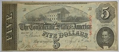 $5 1863 T-60 Richmond Virginia Confederate States of America Currency