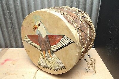 """LARGE ATQ Native American indian pow wow  Drum Painted eagle Lakota Sioux 20"""""""