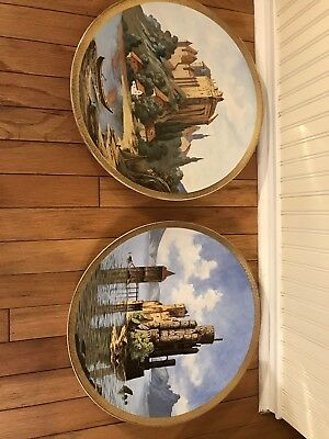 A pair of huge Antique Porcelain Plate / Hand Painted / Germany C 1920/ Signed