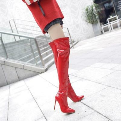 ad0f19deb369 High Stilettos Heels Thigh Boots Patent Leather Pointy Toe Knee High lady  Boots