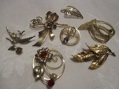 Lot Of 7 Vintage Gold Filled & Sterling Silver Pins - Some With Stones - 30 Gr.!