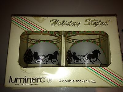 Luminarc Holiday bar glasses Double Rock 14 oz New In The Box  GIFT READY !!!!!
