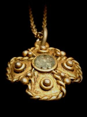 Excavated Ancient Israel Glass Gold Plated Cross Pendant, Buried 2,200 Years