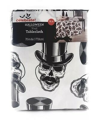 NEW Way To Celebrate Halloween Vinyl Tablecloth Skeletons Skull 70 in. Round