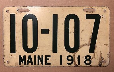 Antique 1918 MAINE License Plate # 10-107 white/green Flat Enamel Early Motoring