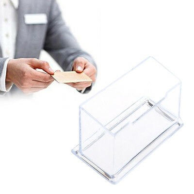 Clear Acrylic Desktop Card Holder Box Business Display Storage Office Supplies