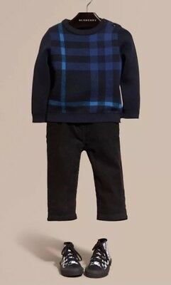 As New Baby Boys Burberry Check Wool Cashmere Blend Sweater Jumper Navy Sz 9-12