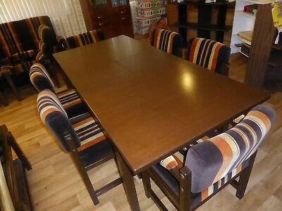 Retro Extendable Dining Table with 6 Retro Chairs