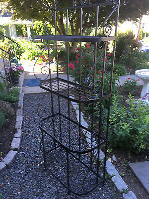 indoor  Bakers Rack Plant Stand orOutdoor Patio Wrought Iron Shelves old school