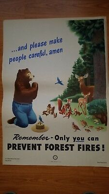 Vintage smokey bear poster 18in X 26in.