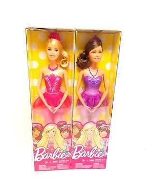 Set Of 2 Barbie Fairytale Ballerina Doll Purple and Pink NEW