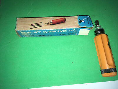 Vintage 5 in 1  illuminate screwdriver  set Complete Minature set factory boxed