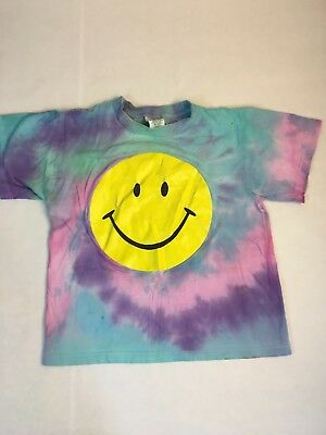 Vintage All Over Tie Dye Smiley Face T-Shirt Youth L 90s Dazed and Confused
