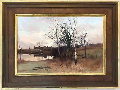 An Autumn Landscape Antique Oil Painting by William Manners R.B.A. (1860–1930)