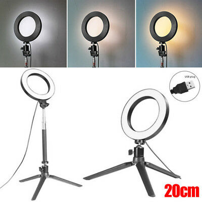 20cm LED 3 Modes 40W 5500K Dimmable Studio Camera Ring Light Photo Phone Video