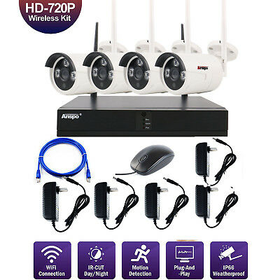 4p Wireless Security Camera System WiFi NVR 720P Camera Night Vision CCTV System