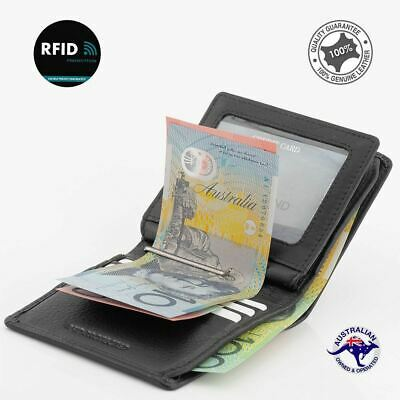 Genuine 2 Fold New  Full Grain Premium Cowhide Leather RFID Protected  Wallet